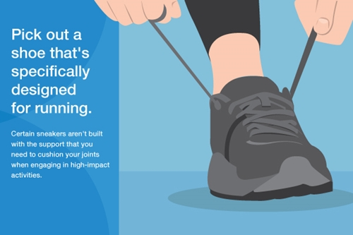 Graphic of runner lacing up running shoes.