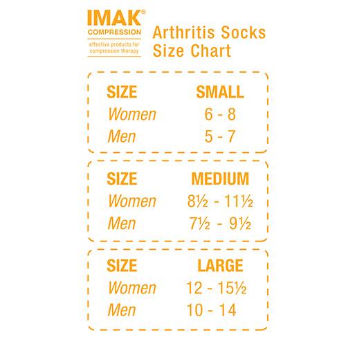 Arthritis Socks Size Chart